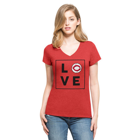 '47 Cincinnati Reds Red Club V-Neck Tee