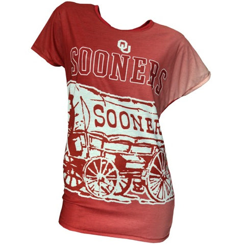 Oklahoma Sooners Dynamic Ladies Short Sleeve Drop Shoulder Top