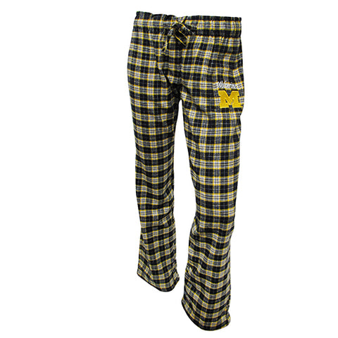 University of Michigan Wolverines Ovation Ladies Flannel Pants W/ Same Drawstring