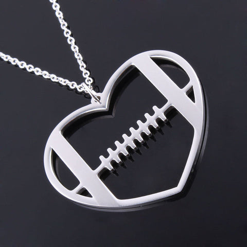 Football Heart Pendant Necklace