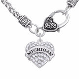 State of Michigan Crystal Heart Necklace w/ Decorated Clasp