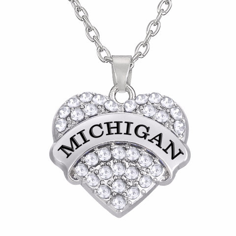 """Heart"" Michigan Crystal Heart Necklace"
