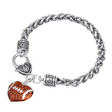 Crystal Heart Football Charm Lobster Claw Bracelet
