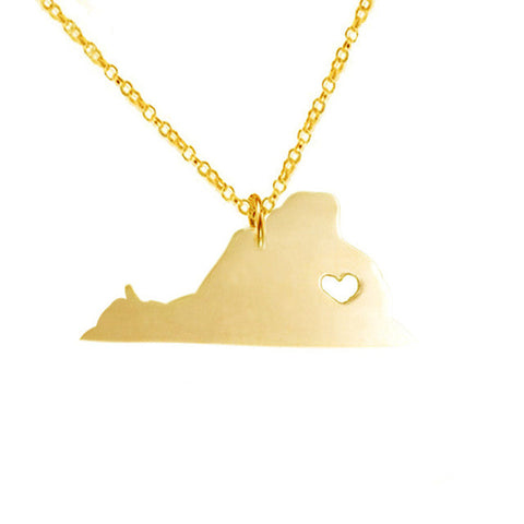 Stainless Steel Virginia State Heart Necklace