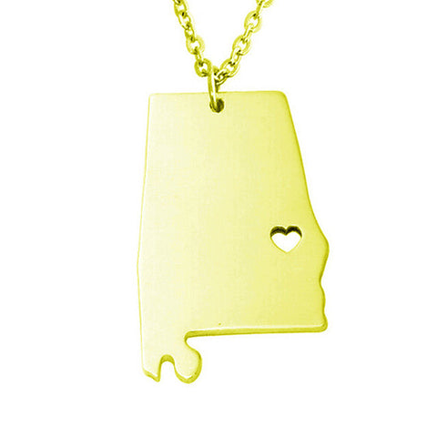 Alabama (AL) Cut Out Map Charm Necklace