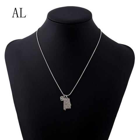 Alabama Crystal Rhinestone Pendant Necklace