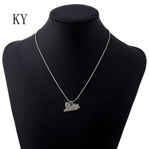 Kentucky Crystal Rhinestone Pendant Necklace