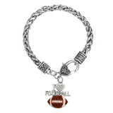 I Love Football Pendant Lobster Clasp Bracelet