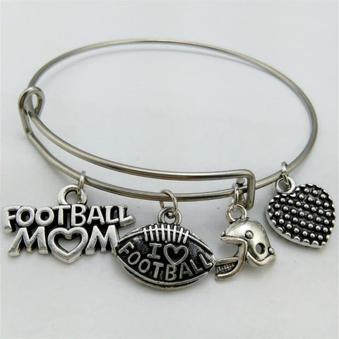I LOVE Football MOM Charm Bangle Bracelet