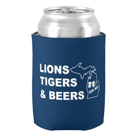 """Lions Tigers and Beers"" Can Insulator - Holder"