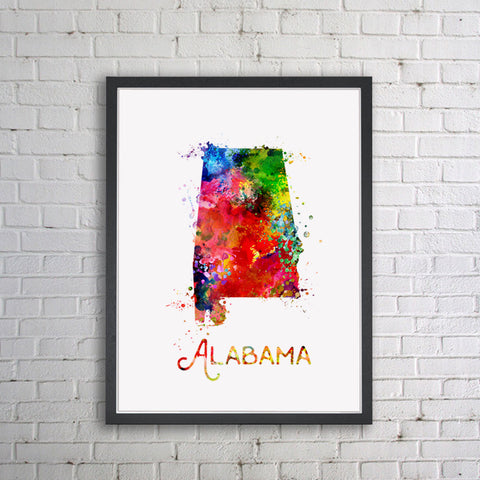 Alabama Map Watercolor Painting