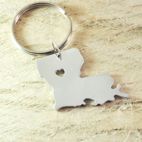 Louisiana LOVE Map Alloy Key Chain
