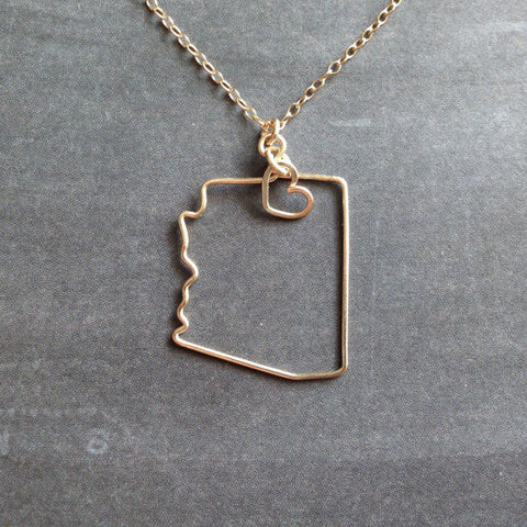 LOVE Outline State of Arizona Necklace