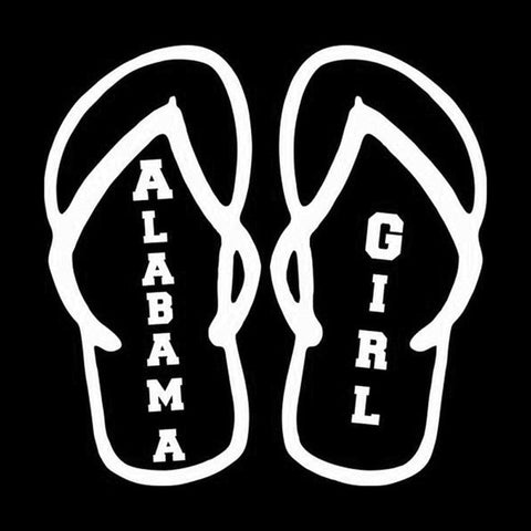 Alabama Girl Flip Flops Car Decal