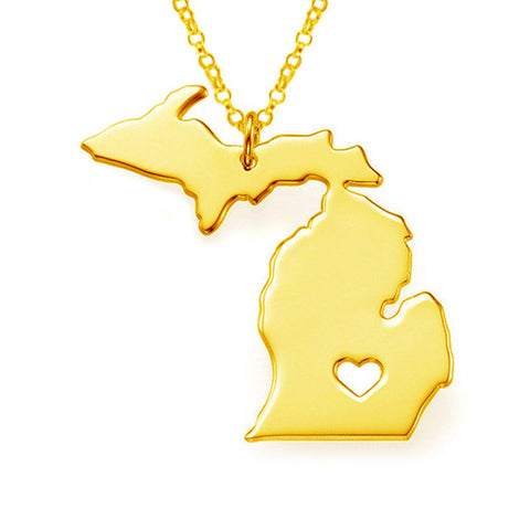 State of Michigan Stainless Steel Pendant Necklace