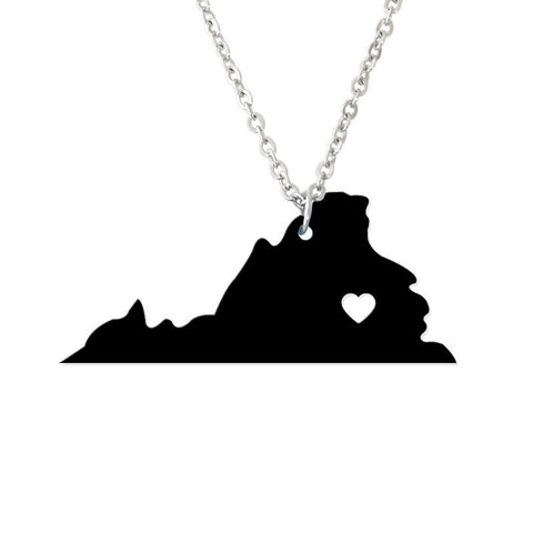 I Heart Virginia Map Pendant Necklace