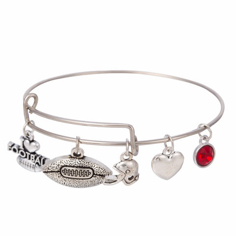 I Love Football Bangle Bracelet