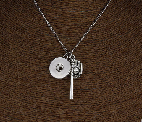 Silver Vintage Baseball Charm Pendant Necklace