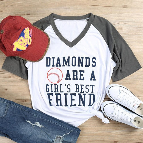 """Diamonds are a Girl's Best Friend"" V - Neck Spliced Tee"