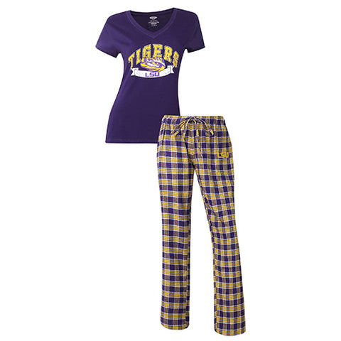 LSU Tigers Ladies Short Sleeve & Pant PJ Set