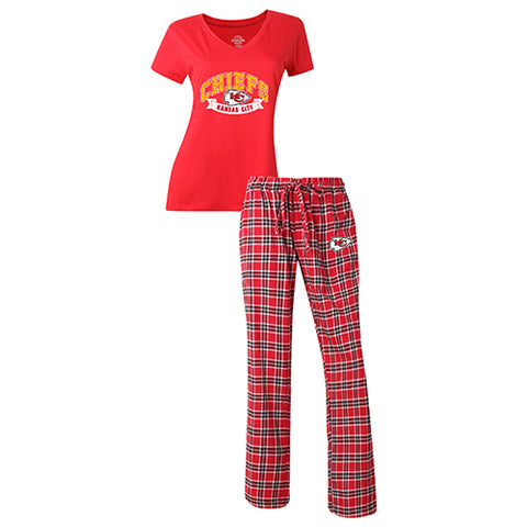 Kansas City Chiefs Medalist Ladies Pant & Short Sleeve Top PJ Set