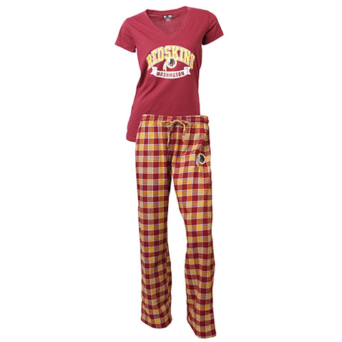 Washington Redskins Medalist Ladies Pant & Short Sleeve Top PJ Set