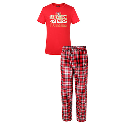 San Francisco 49ers Medalist Men Pant & Short Sleeve Top PJ Set