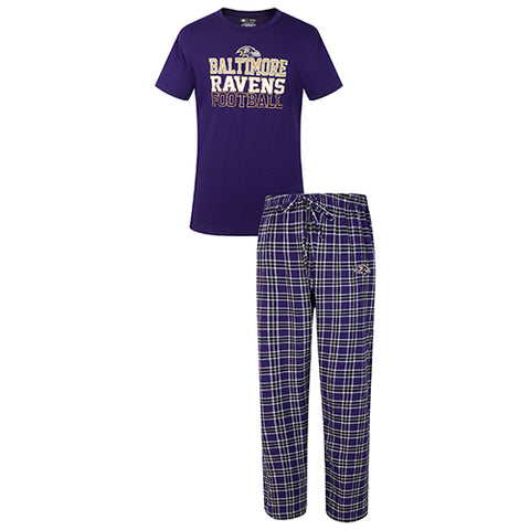 Baltimore Ravens Medalist Men Pant & Short Sleeve Top PJ Set