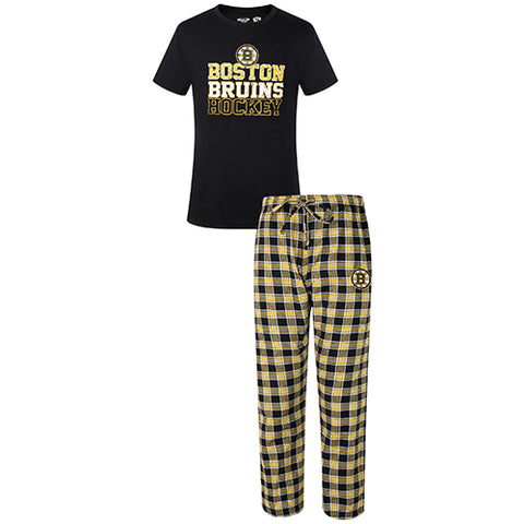 Boston Bruins Medalist Men Pant & Short Sleeve Top PJ Set