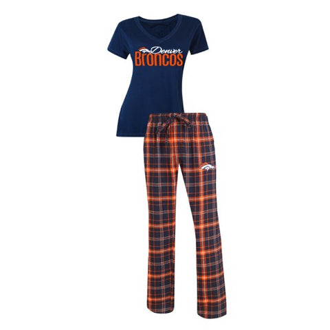 Denver Broncos Halftime Ladies Pant & Short Sleeve Top PJ Set