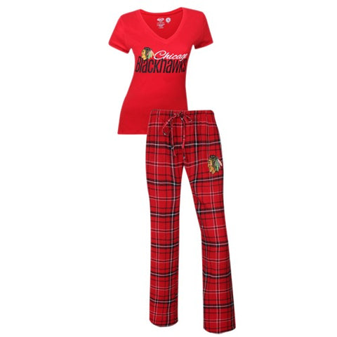 Chicago Blackhawks Halftime Ladies Pant & Short Sleeve Top PJ Set