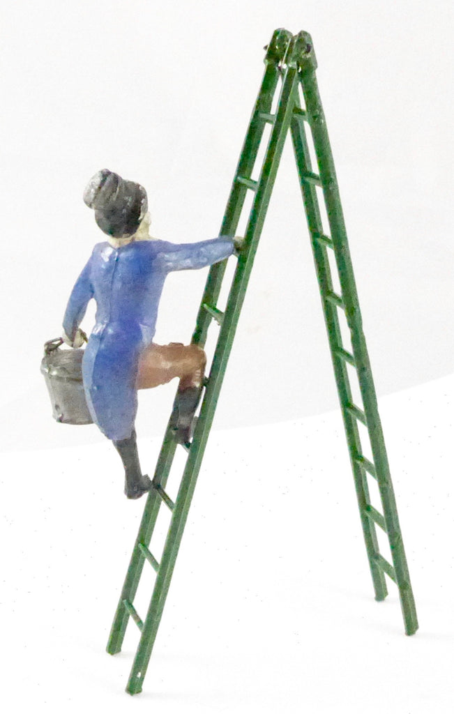 Charbens clown climbing ladder carrying bucket, blue