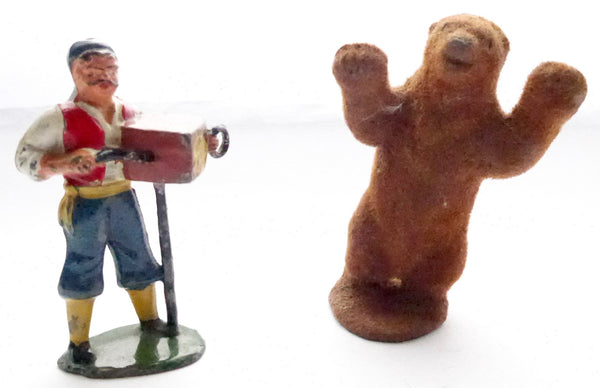 Timpo gypsy organ grinder and rare flocked dancing bear