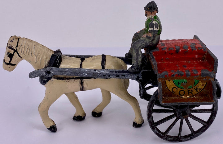 Timpo of Ireland Irish Jaunting Cart, white horse, very rare