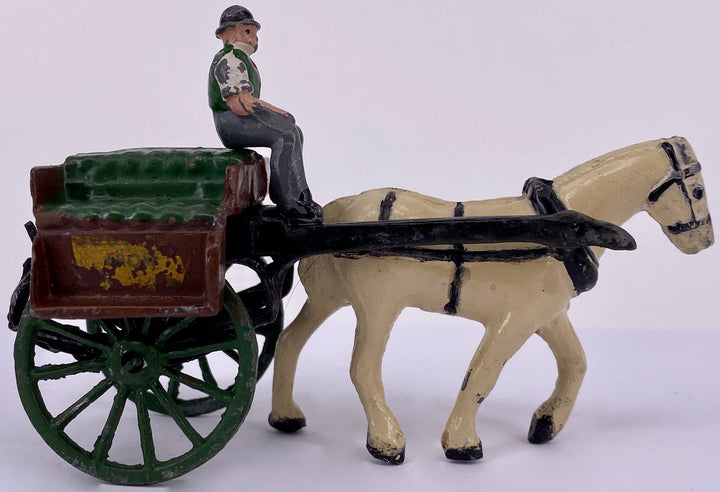 Timpo of Ireland Irish Jaunting Cart, green, white horse, very rare