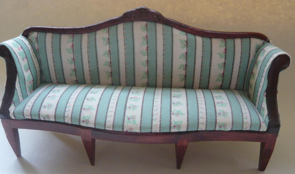 Dolls House Scroll Arm Sofa And Armchair