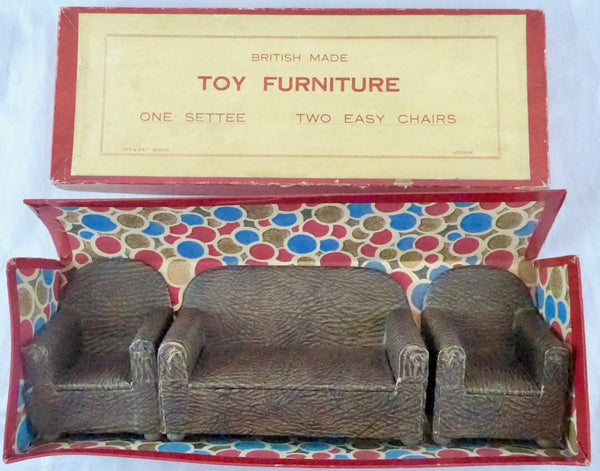 Vintage Pit A Pat 1930s Lounge Suite Rexine Covered, boxed