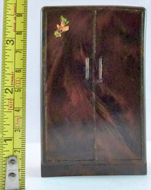 brown mottled plastic dolls house wardrobe