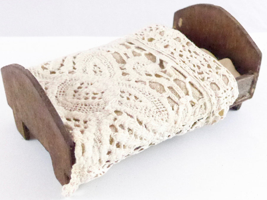 dolls house wooden bed with crochet cover