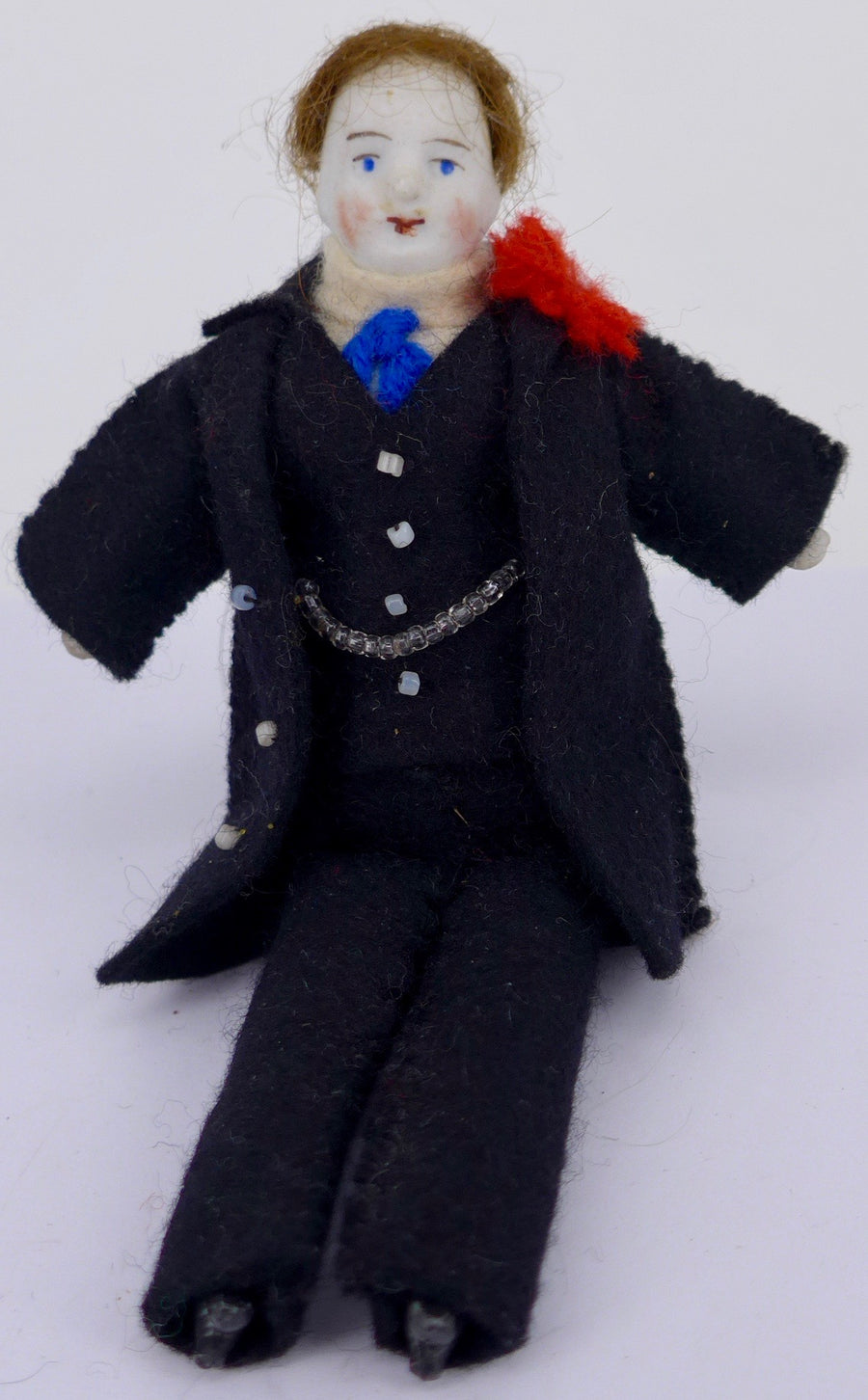 male bisque dollhouse doll, black suit