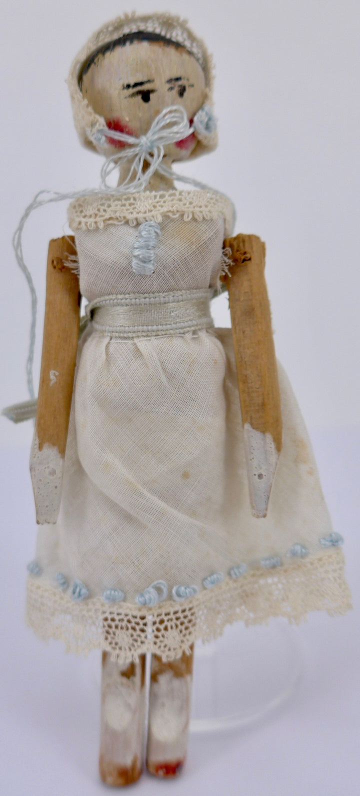 vintage jointed wooden peg doll, white