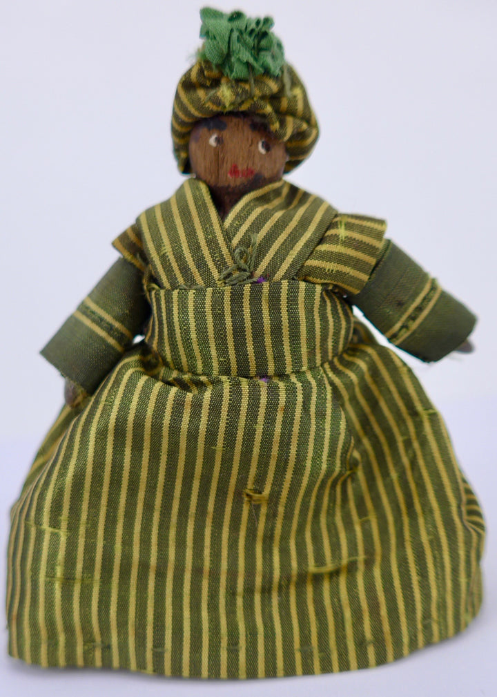 vintage jointed wooden peg doll, yellow stripe