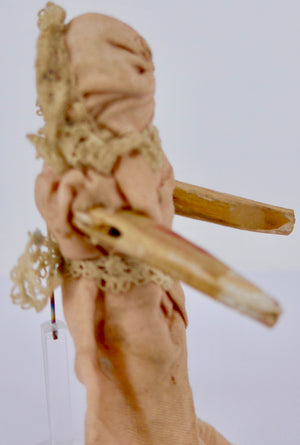 vintage jointed wooden peg doll, pale pink