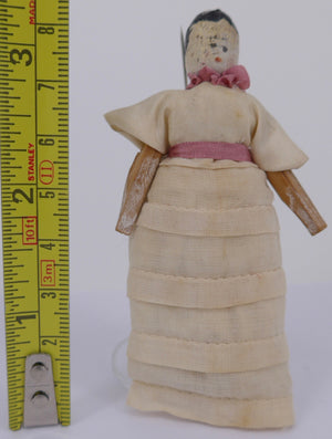 vintage jointed wooden peg doll, cream