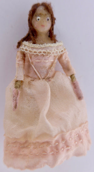 vintage jointed wooden peg doll, pink