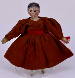 vintage jointed wooden peg doll, brown