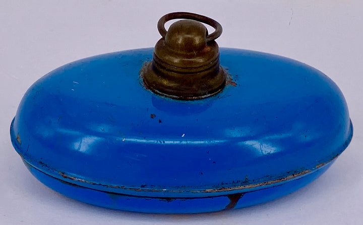 vintage blue enamel dollhouse bed warmer