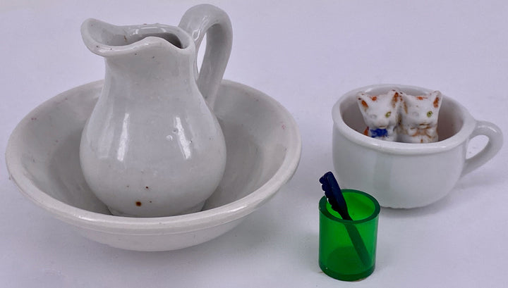 white china jug, bowl & potty for doll house