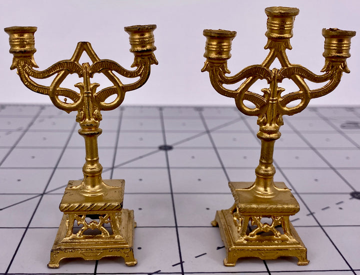 pair gilt ormolu doll house candelabra