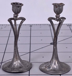 Pair White Metal Art Nouveau Style Dollhouse Candlesticks